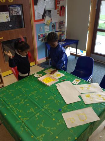 We have been practising letter formation in paint.JPG