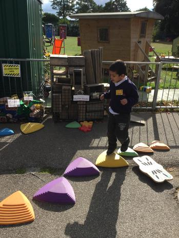 Some children created their own stepping obstacle course outside..JPG