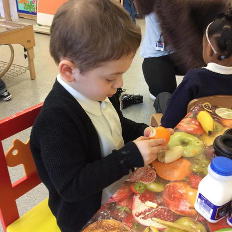 We are learning to be independent during snack time
