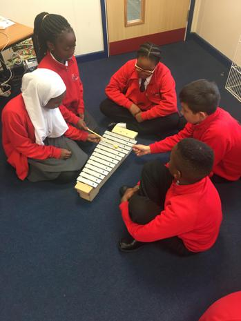 Rehearsing the 'Cool Cat' ostinato on percussion