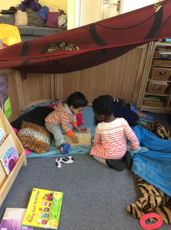 Children are inside the den we made