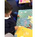 Decorating our kites.