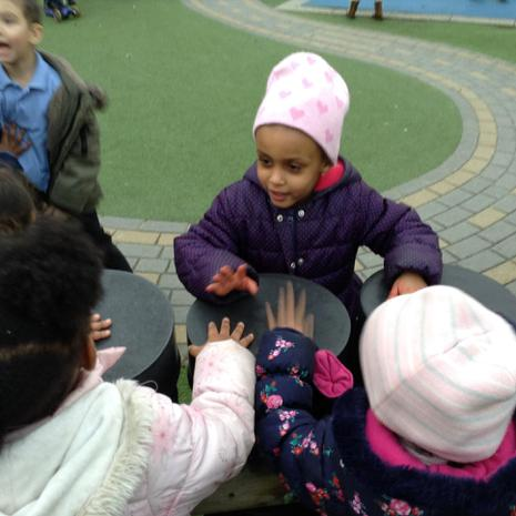 We are learning to make different sounds in the outside area