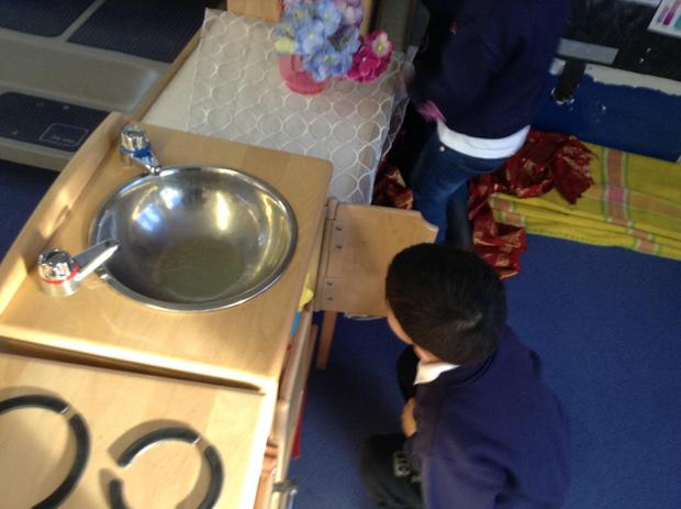 We have lots of role play resources to play with in the nursery