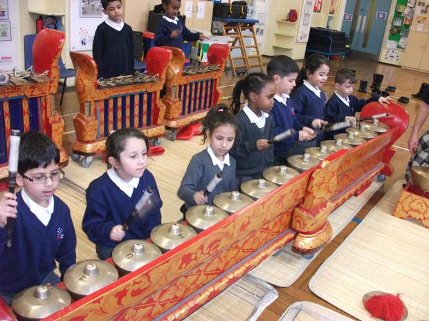 Year 2 learn about pitch in the gamelan