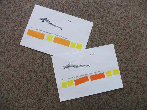Year 1 composing patterns of long and short sounds