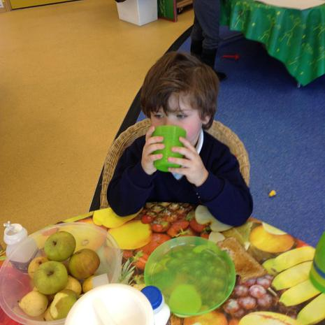 We are learning to eat and drink without spilling