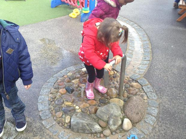 We have been splashing and pumping in the water area