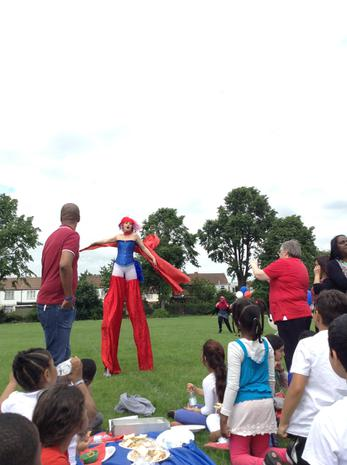 Miss Thompson showed us her circus skills!