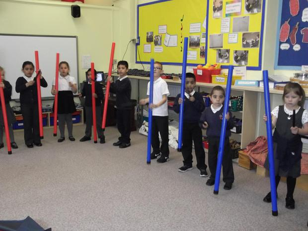 Year 2 are explorng structure. Here they are adding layers of rhythm patterns