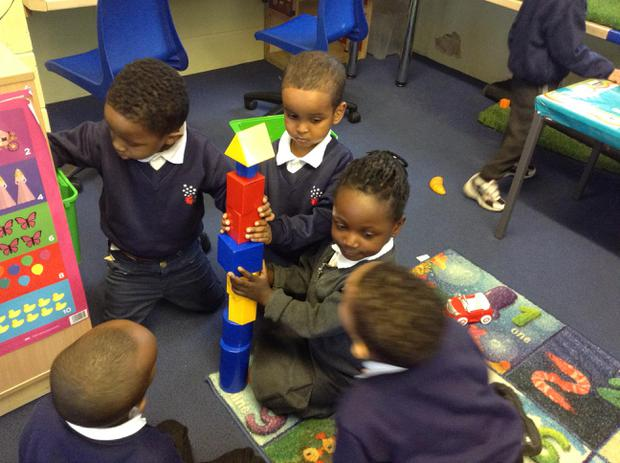 We are learning to use different shapes in our play to build and construct