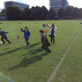 Flying our kites on the field.