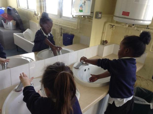 We are learning how to wash our hands properly