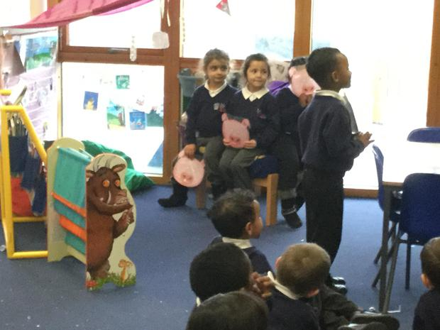 The children acted out the story using props