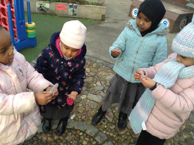 We are learning to use our words to describe the ice in the outside area