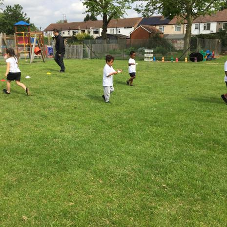We did the egg and spoon race
