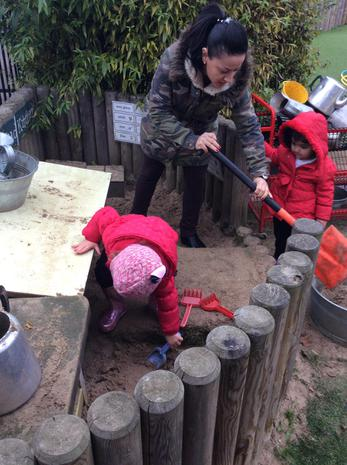 We have been helping our special adults to clear up the mud kitchen