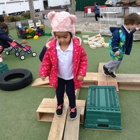 We are learning to develop our balancing skills outside