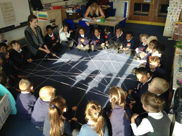 We created a spider web, taking it in turns to roll the string and working as a team
