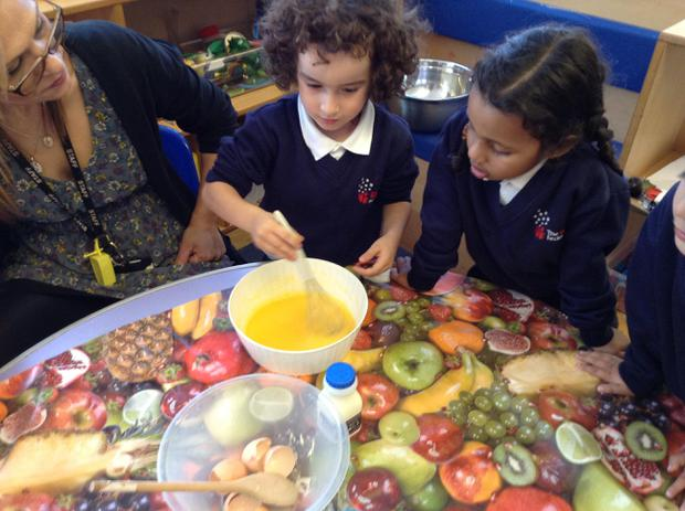 We have been learning about mixing different ingredients together