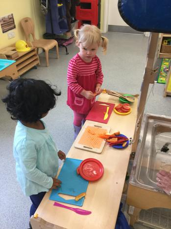 We have been using different tools to cut fruit to strengthen our muscles