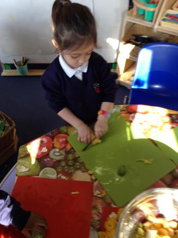 We have been learning how to cut safely