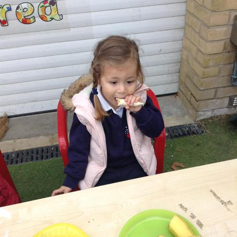 We are encouraged to eat healthy snacks at nursery