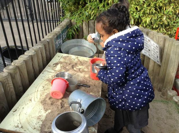 We have been cooking in the mud kitchen