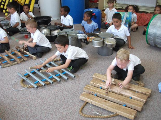 Year 1 junk percussion workshop.