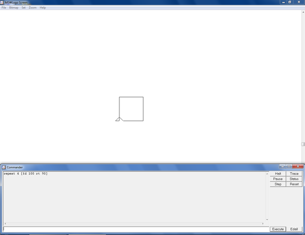 Drawing a square using the repeat command.