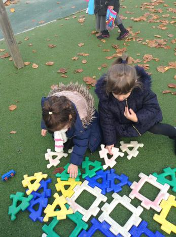 We are learning to construct with different shapes