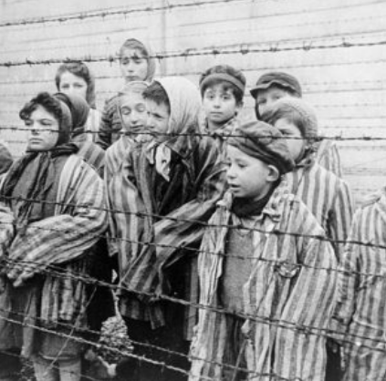Jewish children in a concentration camp.