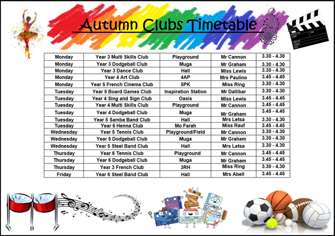Please see the Clubs timetable above. All clubs will be offered in year group bubbles only
