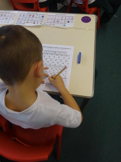 Here we are practicing our handwriting.