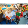 Geoboards and dinosaur traps - good fine motor!