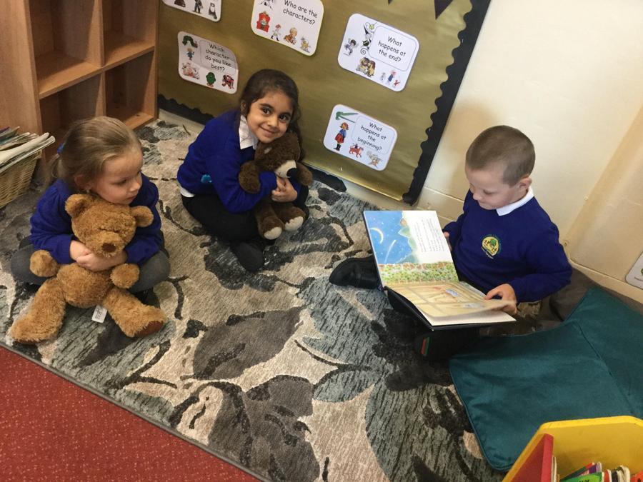 Some children enjoying the reading corner.