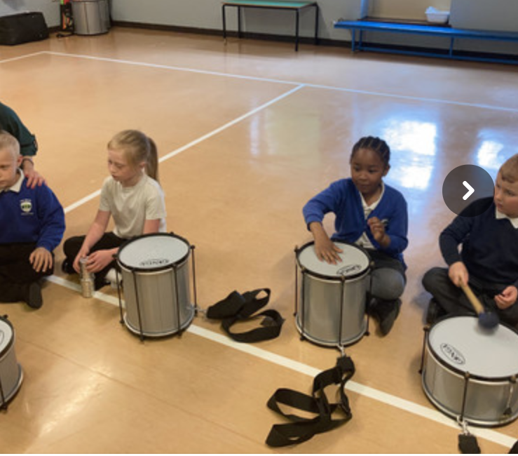 Samba drumming in year one and two.