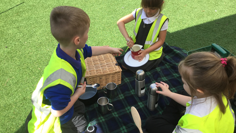 Time for a picnic!  Listening and talking to each other, lots of communication.