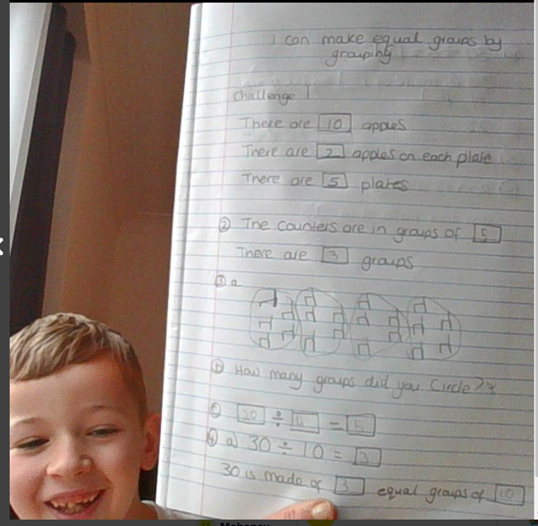 Year 3 child enjoying his maths. A mathematician in the making!