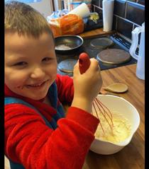 Making pancakes like Mr Wolf.