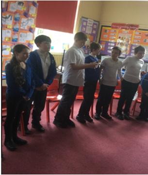 Year 6 children demonstrating excellent teamwork through the 'Connections Game' in PSHE