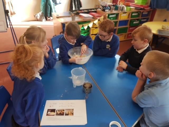 Making scones together with Mrs Simons.