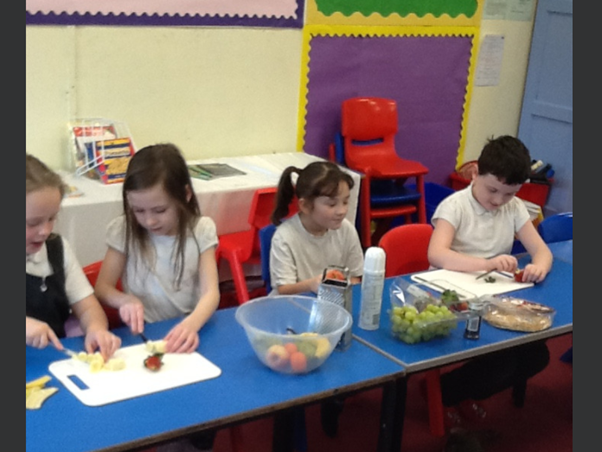 Year 3 making face pancakes with fruit, expressing how they were feeling for Wellbeing Day