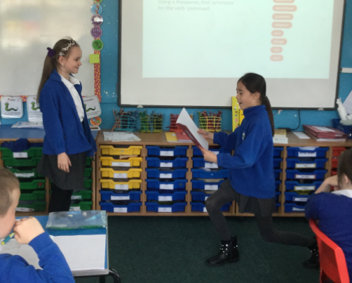 Year 4/5 acting out The Highwayman poem when The Highwayman meets Bess at the old inn.
