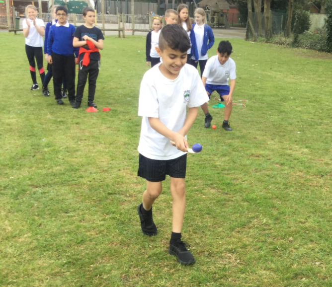 Practising for sports day! Relay racing and building teamwork!