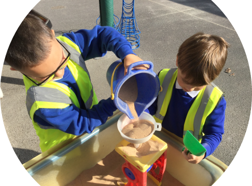 Exploring in the sand and working together ''teamwork'