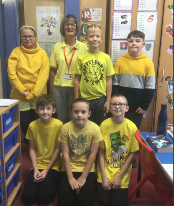 The children came to school dressed in yellow for world mental health day.
