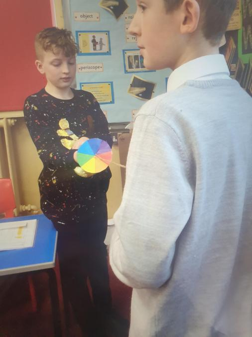 Light Topic - children have been learning about Sir Isaac Newton and colour wheel creation
