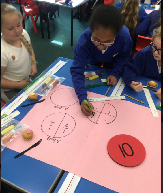 Maths - working in teams to understand fractions - teamwork/enthusiasm.