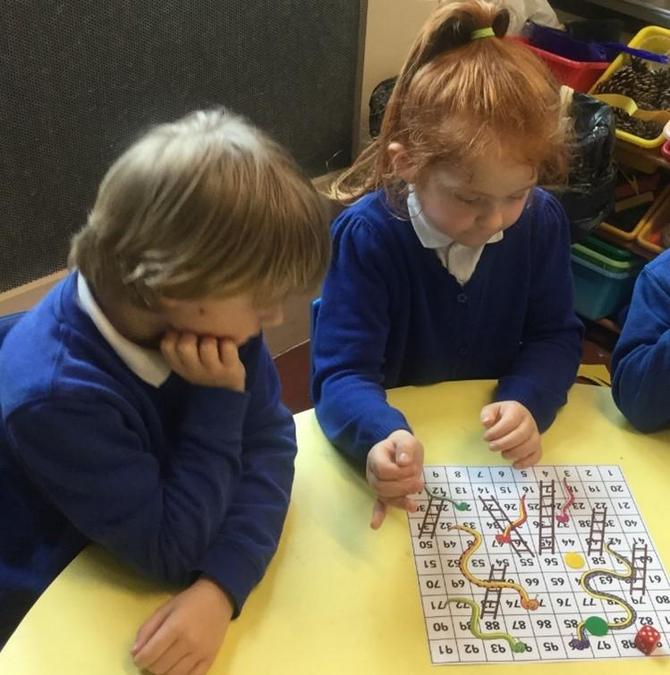 A game of snakes and ladders in maths.